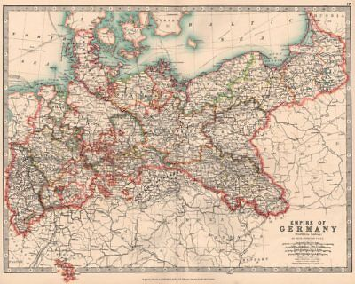 GERMAN EMPIRE NORTH. Prussia &c. Railways Canals. JOHNSTON 1906 old map