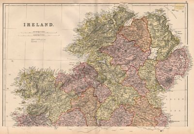 IRELAND NORTH. Ulster. Counties & railways. BLACKIE 1882 old antique map chart