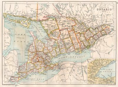 ONTARIO. Showing divisions districts counties. Canada. BARTHOLOMEW 1891 map