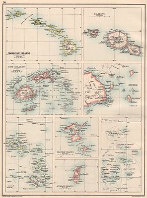 PACIFIC ISLANDS. Fiji Viti Levu Hawaii Tahiti Samoa; Chatham Solomons 1891 map