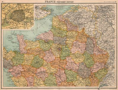 FRANCE NORTH & PARIS. inset Paris showing fortifications. BARTHOLOMEW 1898 map
