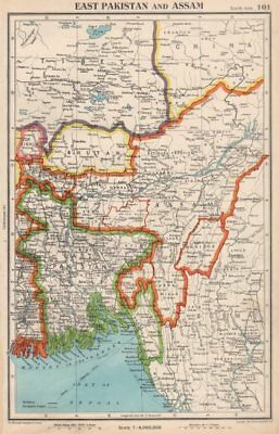 SOUTH ASIA. East Pakistan, Assam, Bhutan & independent Sikkim & Tibet 1952 map
