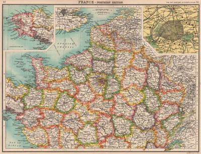 NORTHERN FRANCE.Departements.Paris showing fortifications.BARTHOLOMEW 1901 map