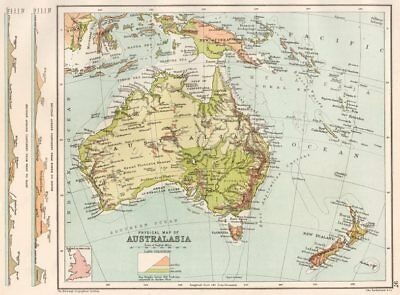 AUSTRALASIA PHYSICAL. N-S and W-E sections across Australia 1891 old map