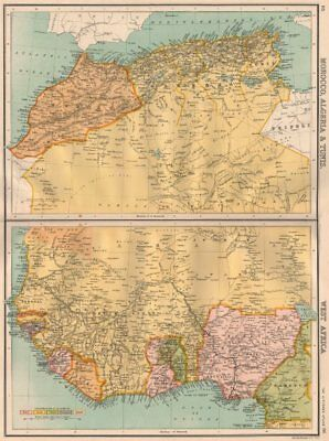 """NORTH & COLONIAL WEST AFRICA. Nigeria marked as """"Royal Niger Company"""" 1898 map"""