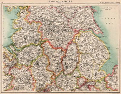 ENGLAND NORTH. Lancashire Yorkshire Lincs Notts Derbys Cheshire Staffs 1901 map