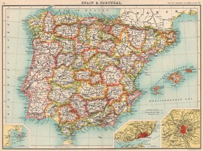 IBERIA.Spain showing provinces & Portugal;Inset Gibraltar Lisbon Madrid 1901 map