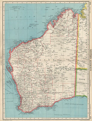WESTERN AUSTRALIA. showing land districts & goldfields. BARTHOLOMEW 1952 map