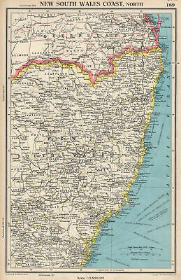 NEW SOUTH WALES COAST, NORTH. showing counties. BARTHOLOMEW 1952 old map