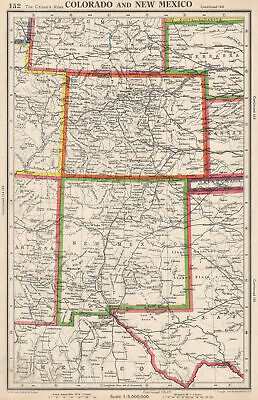 COLORADO AND NEW MEXICO. USA state map. BARTHOLOMEW 1952 old vintage chart