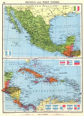 MEXICO & WEST INDIES. Caribbean. Santo Domingo 1938 old vintage map plan chart