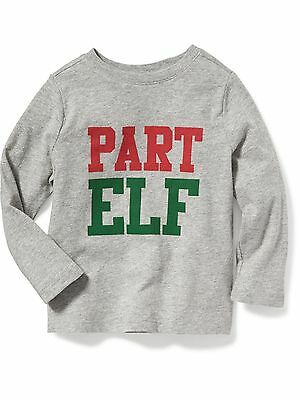 New OLD NAVY Boy's Shirt Size 12 18 months 2T 3T 4T 5T PART ELF Holiday Tee Gray