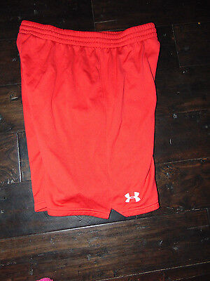 UNDER ARMOUR Loose Fit Boys RED Mesh Athletic SHORTS Youth XL X-LARGE