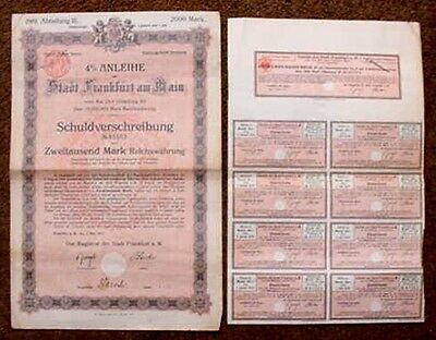 1919 Frankfurt Germany 2000 Mark Bond With Coupons