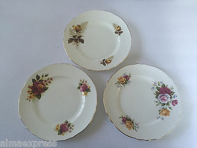 "3 Crown Staffordshire China Rose Scalloped Gold Trim 8-1/4"" SALAD DESSERT PLATE"