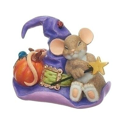 """Charming Tails Halloween Mouse On Witch Hat 3.5"""" New 2017 130456"""