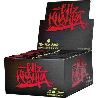 2x Packs ( The Wiz Pack RAW King Size Slim + Poker + Tips ) Rolling Paper Papers