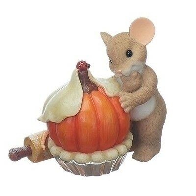 """Charming Tails Harvest Thanksgiving Pumpkin Pie Baker Mouse 3.3"""" New 2017 130450"""