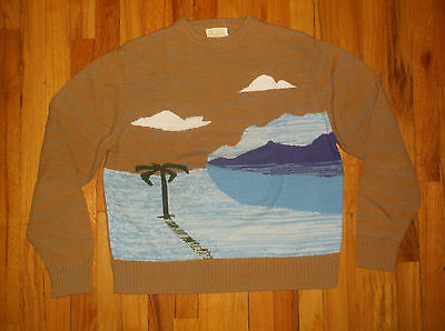 Vtg 60's Kings Road BEACH Palm Tree SURFER Surf Acrylic Crew Sweater Sz XL