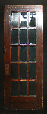"30""x83"" Antique Interior Arts & Crafts French Solid Wood Door Beveled Glass Lite"
