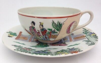 Antique CHINESE PORCELAIN CUP & SAUCER SET, signed - Court Scene