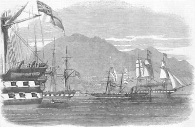 HONG KONG. Return of Eaglet to-dressed, Chinese flag, antique print, 1857