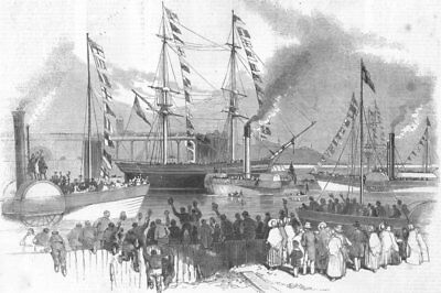 DURHAM. 1st shipment of coals, new Sunderland Docks, antique print, 1850