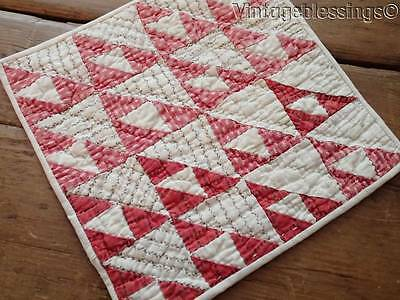 "Charming Antique 1880s Doll Quilt TINY PIECES 9"" Turkey Red White"
