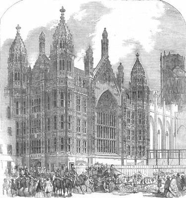 LONDON. Westminster. St Stephenss Porch, antique print, 1854
