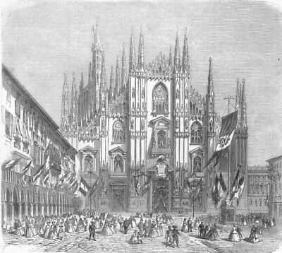 MILAN. Peace rejoicings-decorations of Cathedral, antique print, 1859