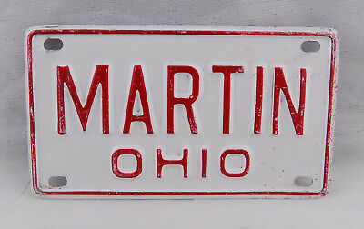 Mini Ohio License Plate Martin Vintage Nos Embossed Bike Bicycle Metal Sign Fc31