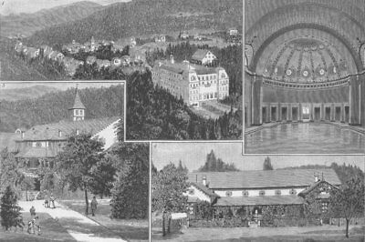 GERMANY. Badenweiler, Black Forest; Kurhaus, Kurgarten, antique print, 1885