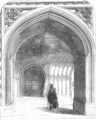 LONDON. Palace of Westminster. The Peers' Porch, antique print, 1857