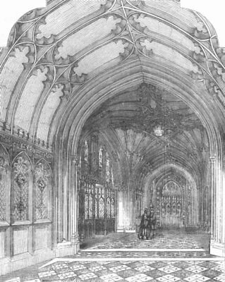 LONDON. Palace of Westminster. Entrance Hall, antique print, 1857