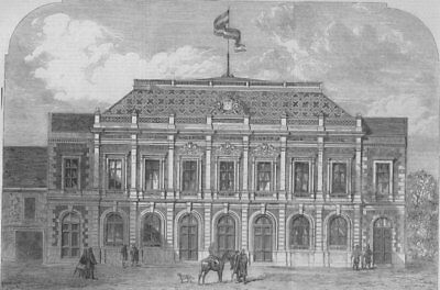 HUNGARY. The temporary house of the Hungarian Parliament at Pesth, print, 1866