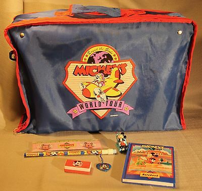 Vintage Lot Of Disney Mickeys World Tour Items ! Bag / Notebook / Stapler +