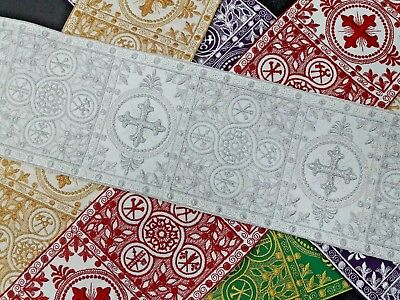 """Vestment Alb Banding French Cross 6"""" Wide Embroidered Assorted Sold by Yard"""