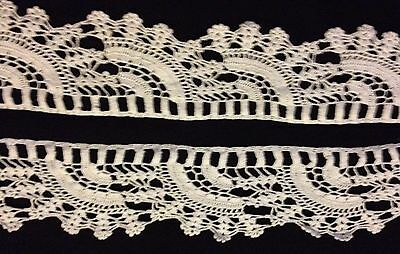 "White Antique Crochet Lace Trim Edging has Slits for Ribbon 4 yards 16"" long"