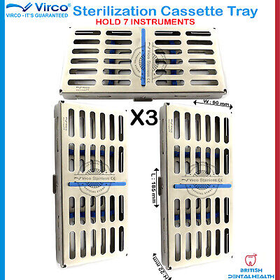 3X Sterilization Cassette Rack Tray Hold 7 Dental Surgical Instruments Autoclave