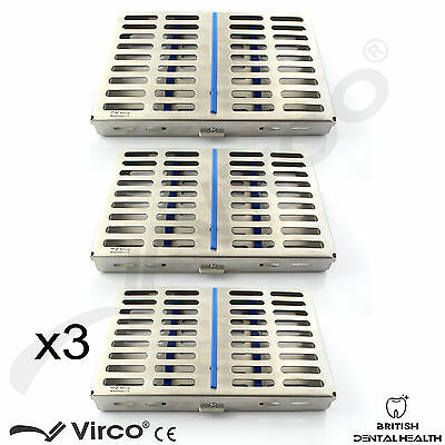 3X Sterilization Cassette Rack Tray Hold 10 Dental Surgical Instrument Autoclave