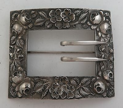 Magnificent Antique Handmade Sterling Silver Ornate Repousse Large Belt Buckle