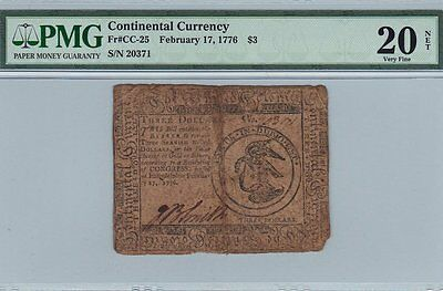 Continental Colonial Currency 02 17 1776 Wartime Note CC 25 PMG VF net signed by
