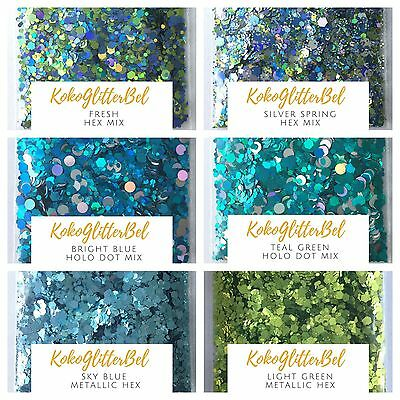 Spring Holographic Green Blue Glitter Hex Mix | 1 TSP | Acrylic Gel Nail Art