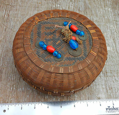 Antique Vintage Chinese Sewing Basket with Coins & Glass Beads