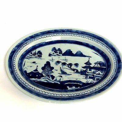 Large Chinese Porcelain Canton Platter Serving Dish Blue Willow 13.5""