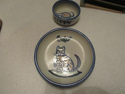 Vintage M.a. Hadley Studio Pottery Cat Kitten Bowl And Saucer Great Shape Rare