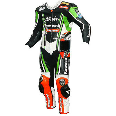 Kawasaki Ninja Motogp Motorcycle Motorbike Leather Suit Ce Approved Protection