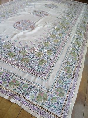 Large Antique Silk Table Cloth- Profuse Silk Kashmir Hand Embroidery