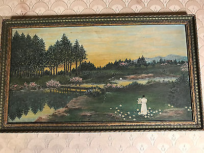 """Nice Antique """"Female Gathering Flowers """" Oil On Canvas Painting - Signed/Framed"""