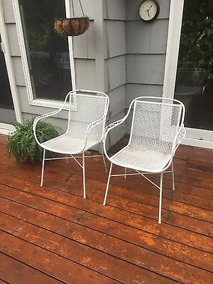Pair Mid Century Vintage Salterini Tempestini Woodard Wrought Iron Patio Chairs